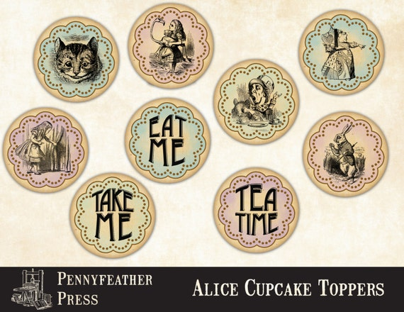 Printable Alice In Wonderland Cupcake Toppers Party Decor