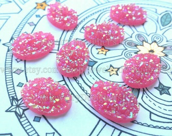 8pcs 13mm x 18mm Pink Faux Druzy Cabochon Oval Iridescent Cabochons Jewelry Supply