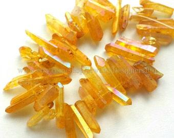 1 Strand 20CM Titanium Crystal Quartz Drilled Beads Natural Crystals Golden Yellow Aurora Quartz Bead Titanium Plated Stones
