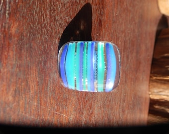 Blue/Green oceanesque Striped Fused Glass Ring