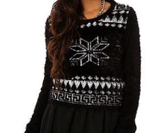 Snow Flake Fuzzy Sweater