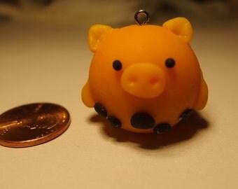 Polymer clay bubble tea pig