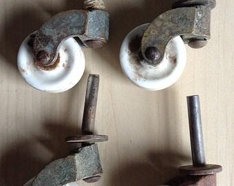 Antique Porcelain Furniture Caster Wheels Set 4