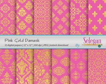 Pink Gold Damask, Digital Paper, Scrapbooking, Paper, 12x12, Printable, European, Royal, Pattern, Damask, Texture, Pink, Blue, Background