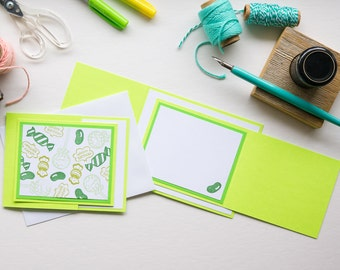 Green Candy Birthday Trifold Card, Handmade Greeting Card