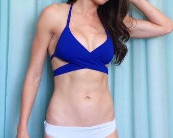 Blue Wrap Bikini Top