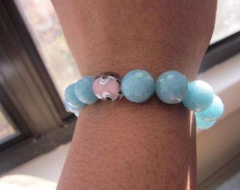Aquamarine and Czech Glass Bracelet