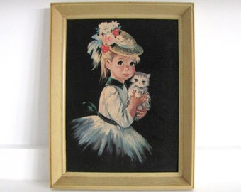 Vintage Kitsch Girl with Kitten Picture
