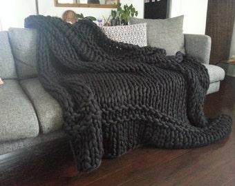 Large Black Blanket. Super Chunky Hand Knitted Australian Merino Blanket 180 x 220cm. Handmade giant yarn blanket.