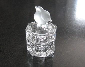 Vintage Pressed Glass Trinket Box Bird