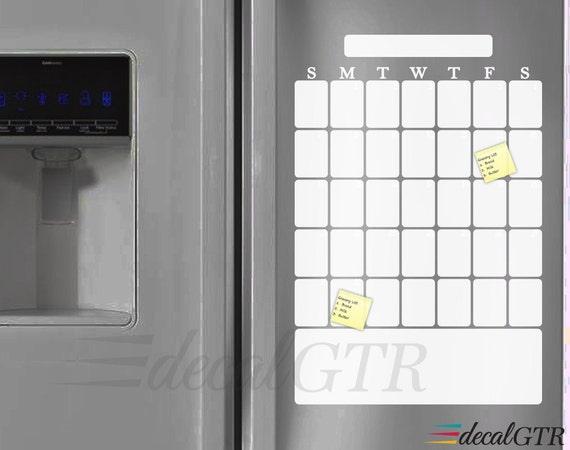 Dry Erase Calendar Decal Refrigerator Dry Erase Weekly