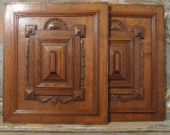 2 BOW GOTHIC Oak Panel 21.46 in Antique French Hand Carved Wood Pediment 19 th