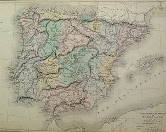 1866 Spain & Portugal Large Original Antique Map - Physical and Political - Geography - Cartography  Pastel Colours - Wall Decor