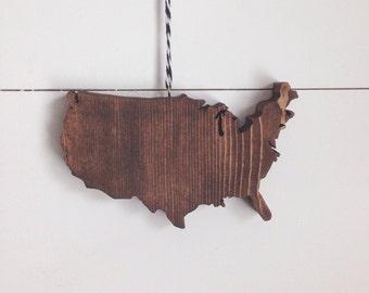 United States Wood Ornament