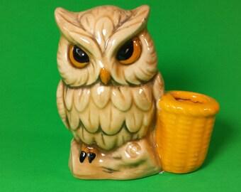 20% OFF, Owl Toothpick Holder, Owl Figurine, Brown Owl, Animal Figurine,