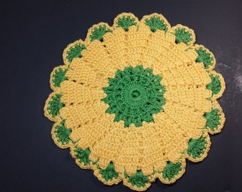FREE SHIPPING, Vintage Pot Holder, Yellow and Green Crocheted Pot Holder