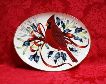 Lenox Winter Greetings Canape Plate, Catherine McClung Winter Greetings, Lenox Winter Greetings Cardinal Canape Plate NIB, Winter Greetings