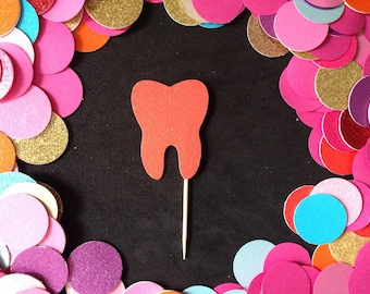 12pcs Glitter Tooth Cupcake Toppers ( More Color )