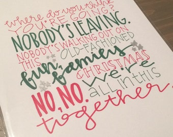 Christmas Vacation Griswolds hand lettered print