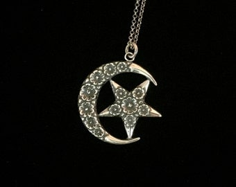 french crescent moon and star necklace