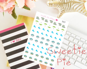Rainy Weather Life Planner Die-Cut Stickers  Perfect for all planners! Item507