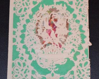 Paper Lace Valentine Card Antique Die Cut