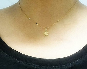 Tiny Gold Star Necklace -Gold Star Charm Necklace - Tiny Star Necklace  - Make a Wish necklace in gold filled - Delicate necklace -