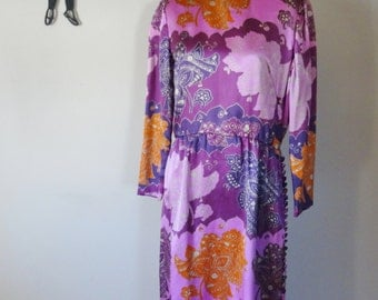 Vintage 1960's Satin Maxi Dress / 60s Abstract Print Dress L