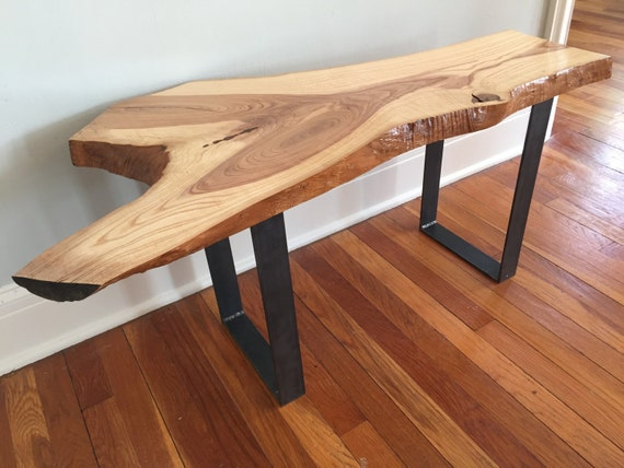 Live Edge Foyer Table : Live edge console table bench steel legs rustic industrial