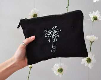 Palm embroidered black make-up, accessory,purse bag