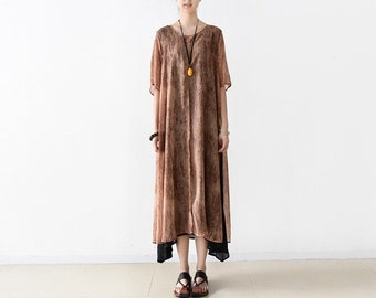 Womens Loose Fitting Irregular Chiffon Cotton Fake Two Pieces Dresses, Womens Loose Fake Two Pieces Robe, Womens Casual Dresses, Bust>120CM