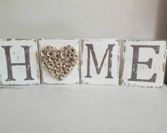Painted and distressed home tiles, wood blocks, distressed, mantle decor