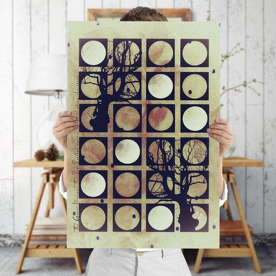 Quirky Wall Decoration : Quirky tree silhouettes art print geometric wall by