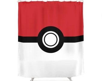 Pokemon Shower Curtain, Poke Ball, Video Game, TV Series, Anime, Geek Gift, Gamer Bathroom, Red, White, Children Design, Kids Art Decoration