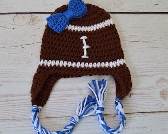 Crochet baby hat, crochet baby girl hat, crochet football hat, football hat, crochet toddler hat, crochet girl hat, bow hat, crochet bow hat