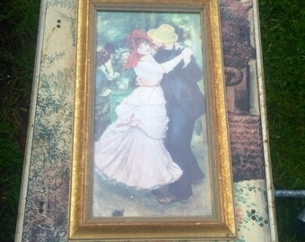 """Victorian steampunk wall art Renoir """"Dance at Bougival"""" painting in gold frame"""