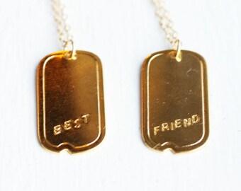 Best Friend Necklace Set, BFF Necklaces, Best Friend Necklaces, Friendship Necklace, Gold Friend Necklace, Gold Charm Necklace, Gold filled