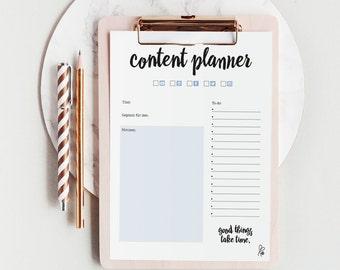 Content Planner / Planner Printable / Notizen / Einlagen / Social Media / A4  / Notizzettel / Block / Block Printable / Sofortdownload