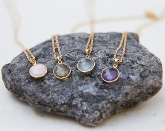 October Birthday Charm Necklace. Pink Opal Birthstone Charm. Gemstone Necklace. Gold or Silver Necklace. Recycled Necklace. Gift For Her.