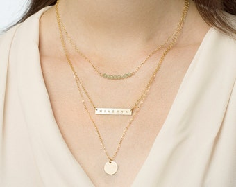 Layering necklace set of 3 - gemstone bar necklace - personalised gold bar necklace - initial disc necklace - layering necklace gift set