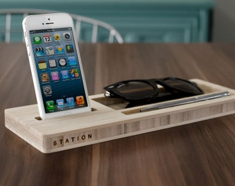 Classic Station: Desk Caddy for your Keys, Phone, and Wallet - Compatible with most Smartphones. - Fast Shipping