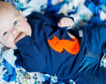 Baby boy  Fox  long sleeved top MADE TO ORDER 3-6, 12-18