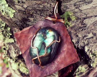 Antique Copper African Labradorite Pendant and chain