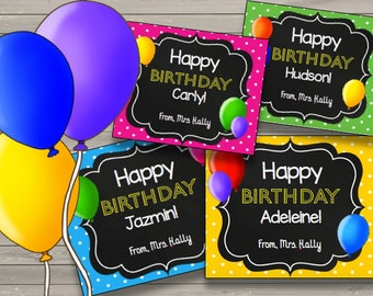 50% OFF SALE Birthday Cards {EDITABLE} Instant Download - Printable - Children - Kids - Teacher - Happy Birthday - Favors