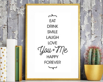 You Me Love Print. Love Bedroom Print. Love Quote. Love Words. You & Me. Printable Art. Anniversary Gift. Partner Gift. Husband Gift
