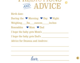 Baby Shower Predictions & Advice Cards
