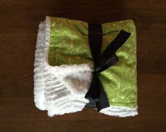 Green Dinosaur Baby Blanket