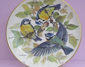 """Ursula Band Collector Plate titled """"Blaumeise ( Blue Titmouse )"""" 1985 WWF, Boxed, with DOCS"""