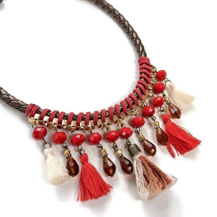 Make Your Own Tassel Necklace: Boho Red Tassel Short Necklace Tassel Necklace Handmade