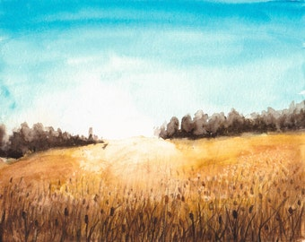 Field of Gold - Watercolor Print